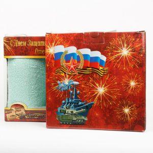 """Подарочный набор полотенец """"С Днем Защитника Отечества"""" ТС-18-мятный размер Набор из 2 штук"""