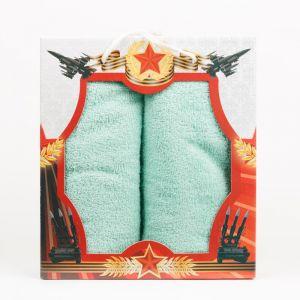 """Подарочный набор полотенец """"Звезда"""" КО-Р-01-мятный размер Набор из 2 штук"""