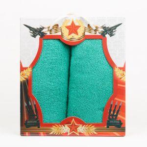 """Подарочный набор полотенец """"Звезда"""" КО-Р-01-зеленый размер Набор из 2 штук"""
