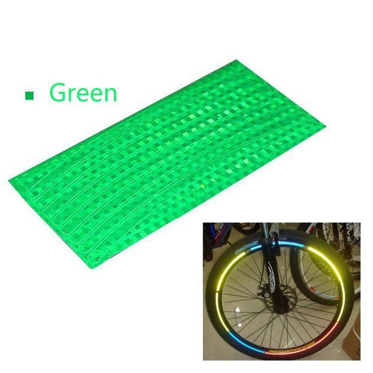 Наклейки на обод велосипеда светоотражающие 8 шт (цвет зелёный)