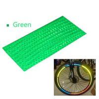 Наклейки на обод велосипеда светоотражающие 8 шт (цвет зелёный)_1