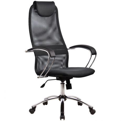 """Кресло руководителя Метта """"Business"""" BK-8 CH, ткань-сетка темно-серая №21, механизм качания"""
