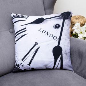 Подушка декоративная Лондонское время, 40х40см, габардин, синтетич. волокно, 160 гр/м