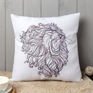 Подушка декоративная «Лев», 40х40 см, белый, габардин
