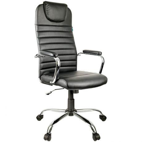 """Кресло руководителя Helmi HL-E25 """"Intelligent"""", экокожа черная, подголовник, хром"""