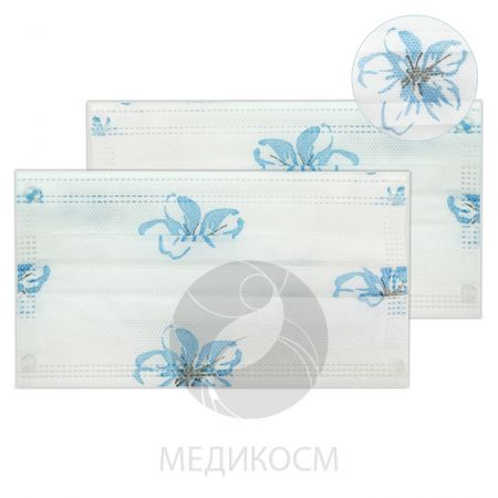 Маска спанбонд, трёхслойная с фикатором - размер 18x9 - 50 штук, рисунок нежный цветок, голубой НЕТ В НАЛИЧИИ