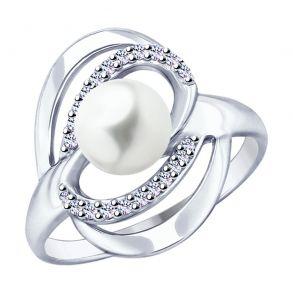 Кольцо из серебра с жемчугом и фианитами 94012822 SOKOLOV