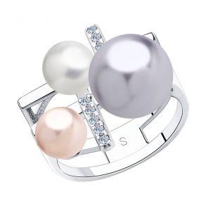 Кольцо из серебра с белым, розовым и сиреневым жемчугом Swarovski и фианитами 94013074 SOKOLOV