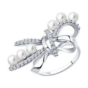 """Кольцо """"Бантик"""" с жемчугом из серебра 94013142 SOKOLOV"""