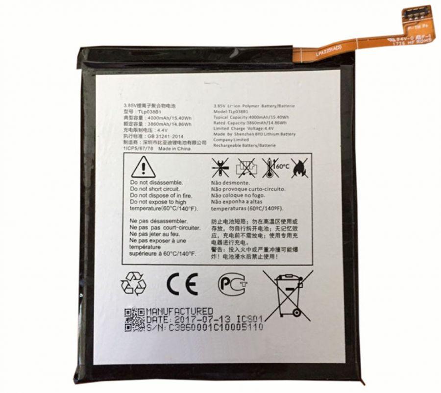 Аккумулятор Alcatel 5090Y A7 (TLp038B1) Оригинал