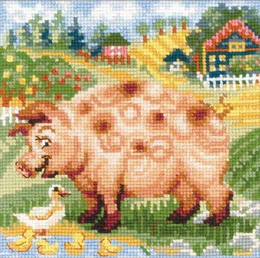 Набор для вышивания крестом Хуторок. Свинка №1523 фирма Риолис