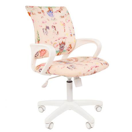 Кресло детское Chairman Kids 103, PL белый, ткань велюр, принцесса, механизм качания спинки