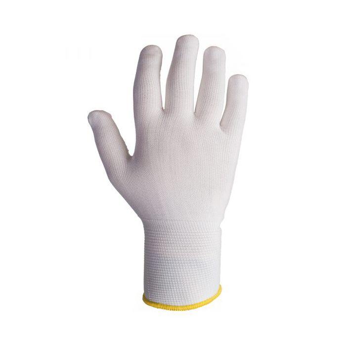 Jeta JS011n Бесшовные трикотажные защитные перчатки из полиамидных волокон, цвет: белый. Размеры: 7/S, 8/M и 9/L, в упаковке 12пар.