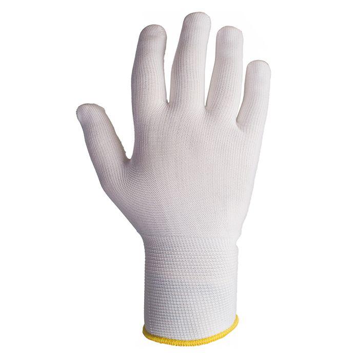 Jeta JSD011p Бесшовные трикотажные защитные перчатки с точечным ПВХ покрытие, цвет: белый, с точечным ПВХ покрытием, размер S, M, L, в упаковке 12пар.