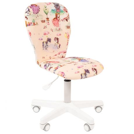 Кресло детское Chairman Kids 105, PL белый, ткань велюр, принцессы, регулировка по высоте, без подл.