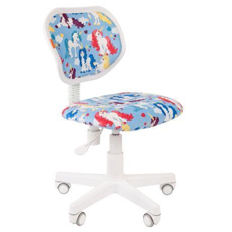 Кресло детское Chairman Kids 106, PL белый, ткань велюр, мех. Постоян. под.спины, без подлок