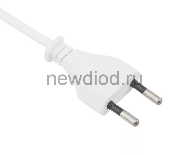 Шнур сетевой, вилка плоская без розетки, кабель 2x0.5мм², длина 1,8 метра, белый REXANT