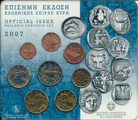 Официальный набор евро-монет  Греция 2007 BU (8 монет)