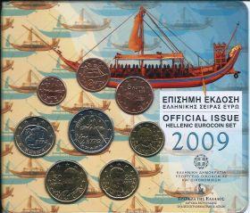 Официальный набор евро-монет  Греция 2009 BU (8 монет)