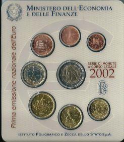 Официальный набор евро-монет Италия 2002 (8 монет)