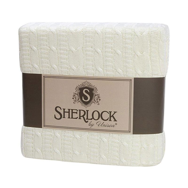 Плед вязанный Sherlock, молочный