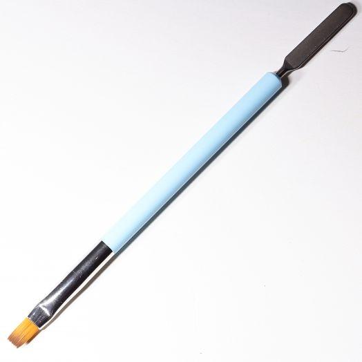 Кисть для геля/полигеля с лопаткой с синей ручкой прямая/плоская форма