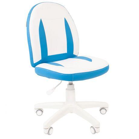 Кресло детское Chairman Kids 122, PL белый, экопремиум белый/голубой, регулир. по высоте, без подлок