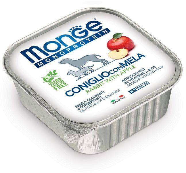 Monge Dog Monoprotein Fruits консервы для собак паштет из кролика с рисом и яблоками