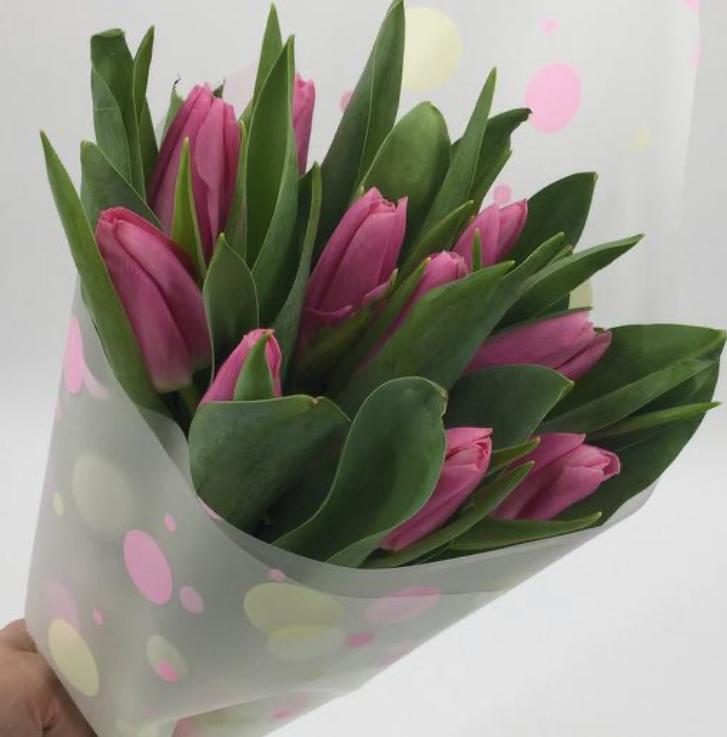 Букет 15 пурпурных тюльпанов