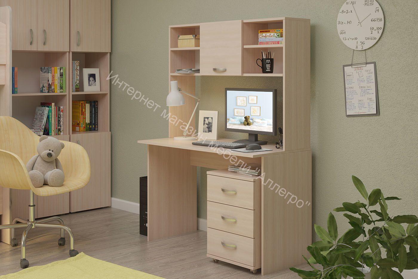 """Письменный стол """"ДМ"""" с надстройкой и тумбой выкатной"""