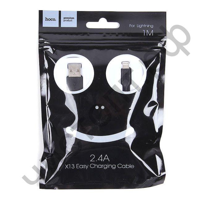 Кабель USB - Apple 8 pin HOCO X13 Easy, 1.0м, круглый, 2.4A, силикон, цвет: чёрный