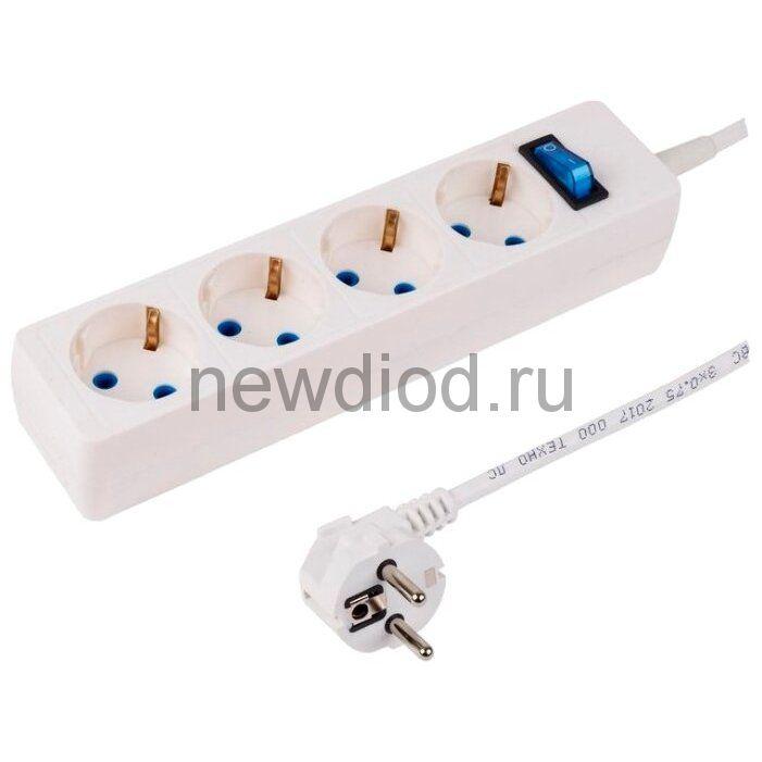 Сетевой фильтр 4 гнезда 1.5 м,3х0,75 мм² с/з STANDART белый PROCONNECT