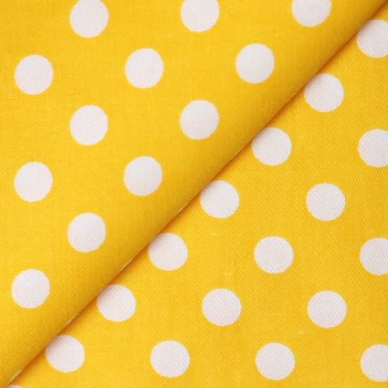 Ткань Белый горошек на жёлтом 50х40см