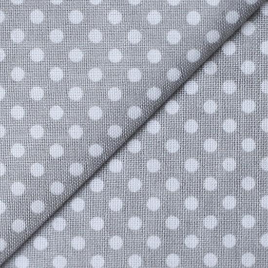 Ткань Белый горошек на сером 50х40см