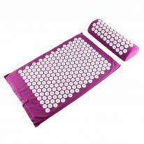 Акупунктурный массажный комплект из коврика и валика Acupressure Mat, розовый