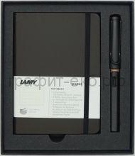 Набор Lamy Safari Ручка перьевая F+ книжка записная А6 умбра