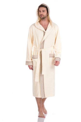 Мужской махровый халат с капюшоном Le Voyageur кремовый