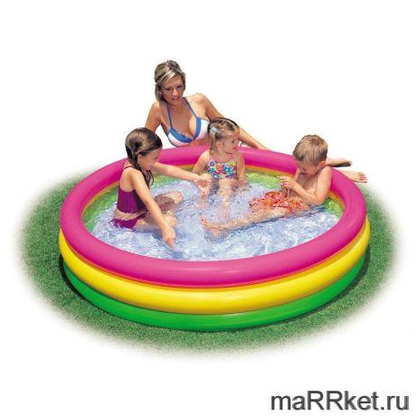 """Детский бассейн """"РАДУГА"""" с надувным дном, 73 Х 25 см"""