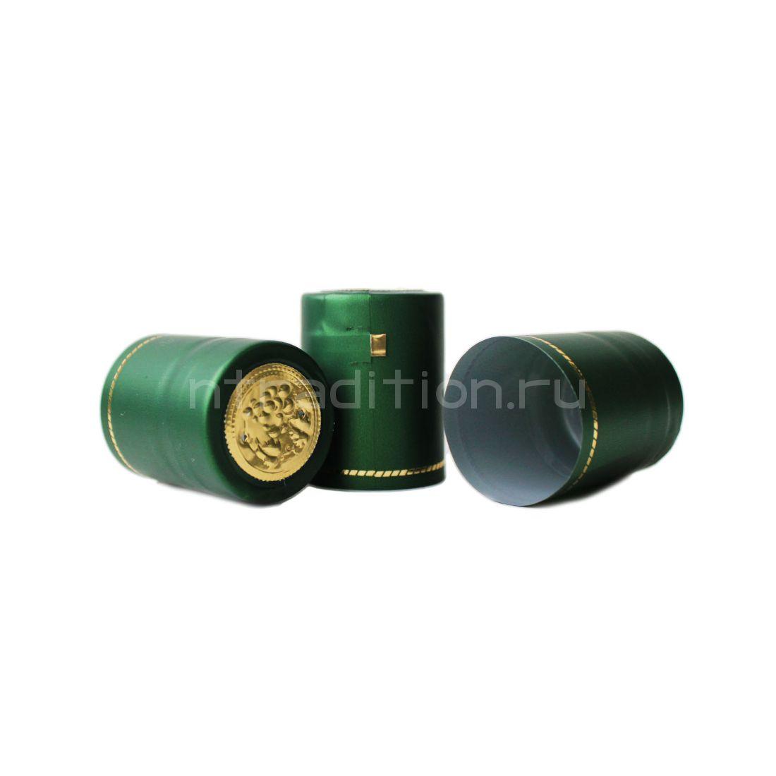 Термоусадочные колпачки 40 мм, 40 шт (зеленый металлик)