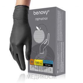 Перчатки нитриловые BENOVY, чёрные, размер XS,S,M,L- 50 пар