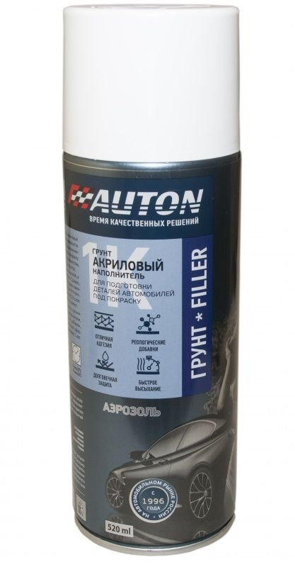 """Auton 1К acryl Filler Грунт акриловый, название цвета """"Белый"""",  в аэрозольном баллоне, объем 520мл."""