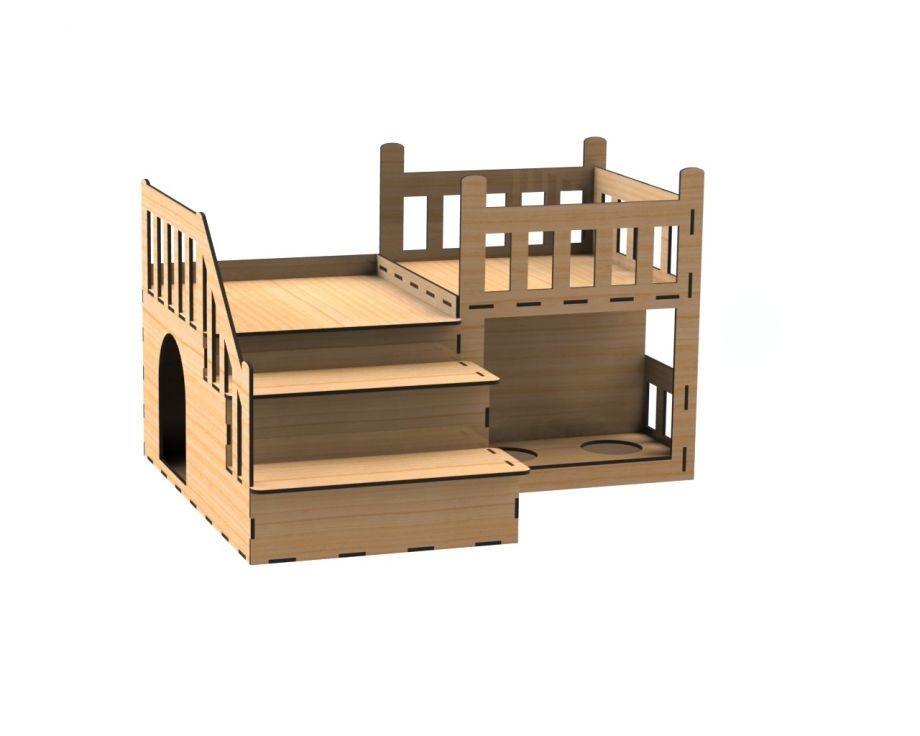 Деревянный дом для кота