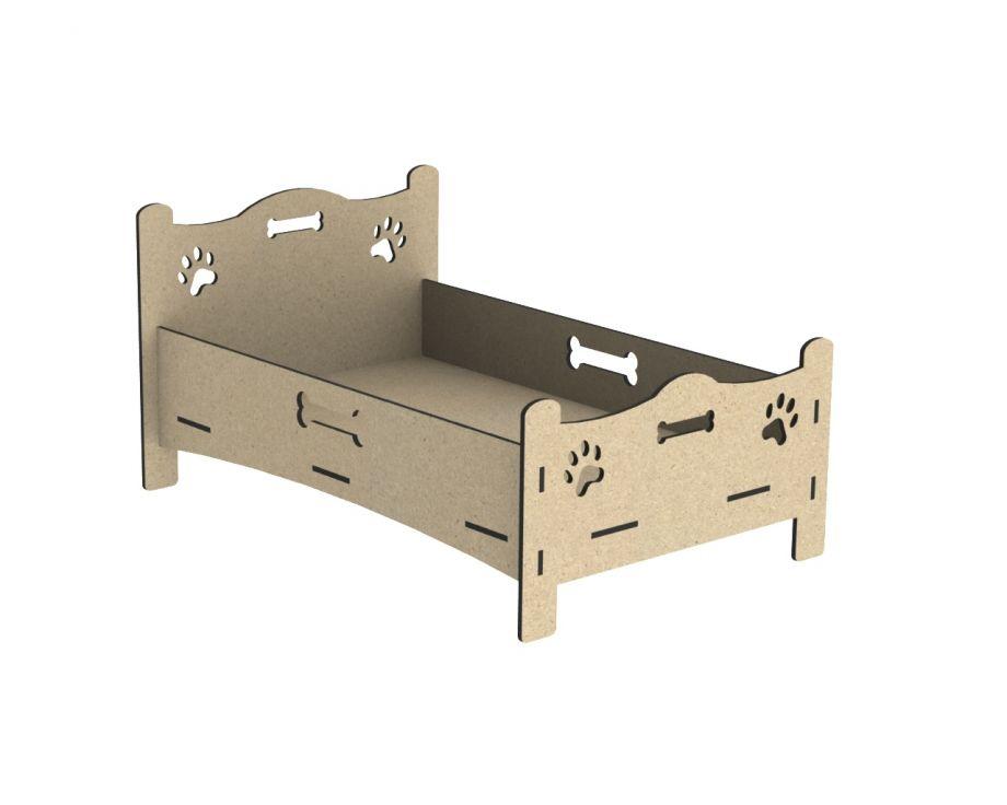 Лежанка для собак в виде кроватки с костью и лапками