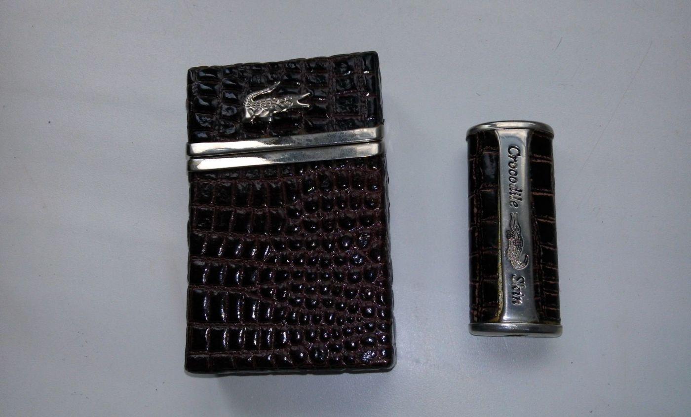 Портсигар и чехол для зажигалки, набор 2 шт