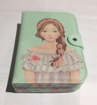 Шкатулка для ювелирных изделий Блокнот с девушкой, 20х14х5 см, цвет зелёный платье серое
