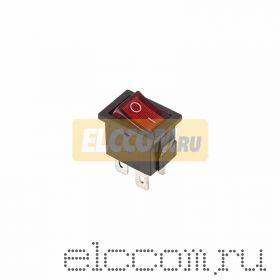Выключатель клавишный 250V 6А (4с) ON-OFF красный с подсветкой Mini (RWB-207, SC-768)