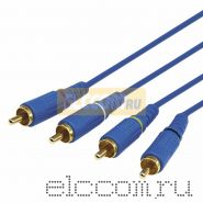 Шнур 4х4 RCA 1.5 м синий gold REXANT