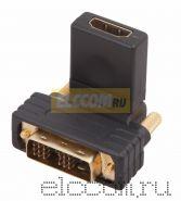 ПЕРЕХОДНИК штекер DVI-D <--> гнездо HDMI, под углом 90, поворотное REXANT