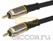Шнур 1RCA Plug - 1RCA Plug 5М (GOLD) - металл REXANT