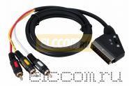Шнур SCART Plug - 3RCA Plug с переключателем, GOLD, (круглый кабель), 3.0М REXANT